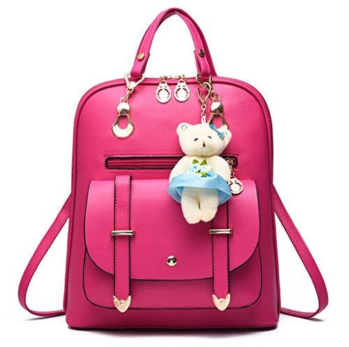 b3ade53328 Pink Con Orso Pelle Scuola Borsa Mtxln Zaino Pu Spalla Viaggio Donna  Daypacks darkblue Da Ornamenti ZxwZ6U4q