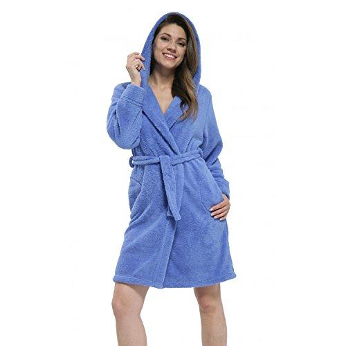 Dorotha o cama de matrimonio bata de forro polar para con capucha Azul