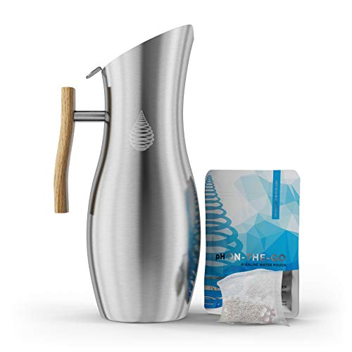 pH VITALITY Stainless Steel Alkaline Water Pitcher - Alkaline Water Filter Pitcher by Invigorated Water - High pH Ionized Filtered Water Purifier - Includes Long Life Filter