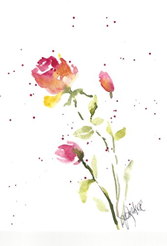 Baby roses Blank Note Cards: 6 Blank Artistic Summer Floral All Occasion Watercolor Cards, With Envelopes - First Rosebuds