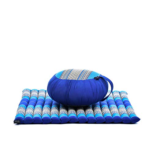 Leewadee Meditation Set: Zafu Cushion, Zabuton Mat, 30x28x10 inches, Kapok Fabric, Blue