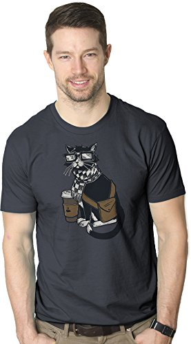 Hipster Cat T Shirt Funny Sarcastic Glasses Scarf Cool Kitty Graphic Tee (Grey) (Beatnik Cat)