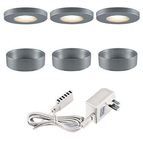 (Jesco Lighting KIT-PK501-BA-A Xenon Straight Edged Slim Disk Kit, Aluminum)