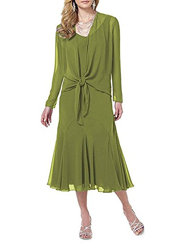 Mother Dresses Sleeves Womens BOwith with Olive The Dress Formal Long of Jacket Bride 05qXffdwFx