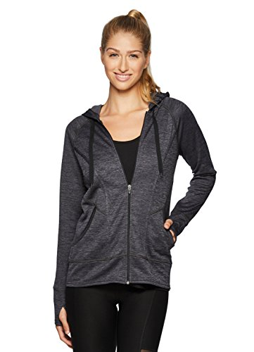 RBX Active Womens Fleece Lined Zip Hoodie Jacket Black L