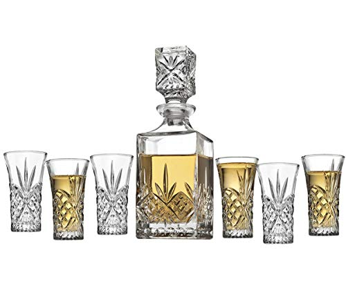 Godinger Mini Whiskey Decanter and Shot Glasses Barware Set - 10oz Decanter for Scotch Wine or Vodka - Dublin Collection