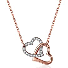 ♥Valentines Day Gifts for Her♥ Lelekiss Rose Gold Swarovski Crystal Interlocking Hearts Pendant Necklace for Women, 18''