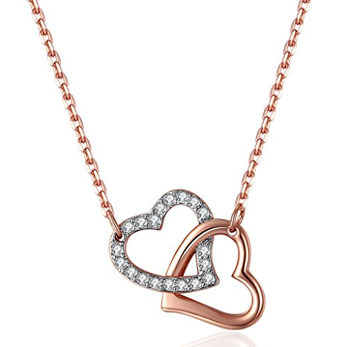 Cubic Zirconia Open Heart Pendant (Lelekiss Rose Gold Plated Swarovski Elements Crystals Double Open Heart Pendant Necklace Gifts for Women,)