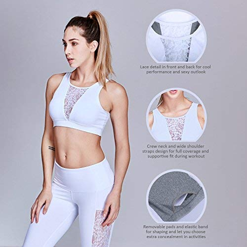 Matymats Womens Active Yoga Sports Bra High Impact Workout Gym Sleeveless Crop Tops Lace Inserted
