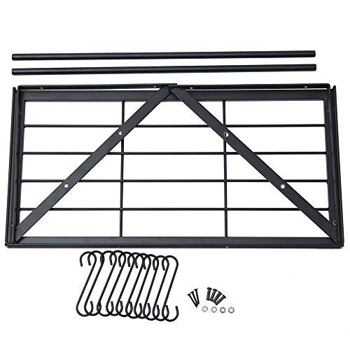 Oropy Wall Mounted Pot Rack Storage Shelf with 2 Tier Hanging Rails 12 S Hooks included, Ideal for Pans, Utensils, Books, Plant Black by OROPY (Image #7)
