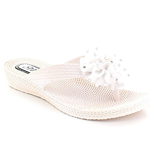 Sandals Size Flat White AARZ Post Ladies Shoes On Slip Lightweight Comfort Casual Toe Summer LONDON Women w6qTn6S7zU