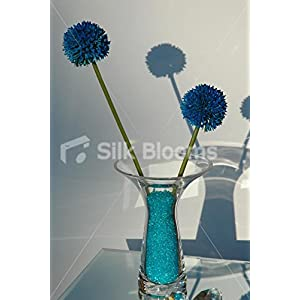 Vase Table Arrangement with Electric Blue Crystals & Allium 7