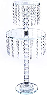 Fancy Round Crystal Holder Double Layer With Hanging Crystal Beads