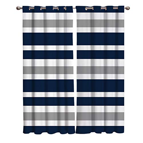 Window Treatment Set Room Curtains for Living Room,Kitchen,Laundry, Bedroom - Navy Blue, Gray and White Stripe 2 Drape Panels,52