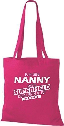 Shirtstown Stoffbeutel Ich bin Nanny, weil Superheld kein Beruf ist pink