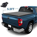 YITAMOTOR Tri-Fold Truck Bed Tonneau Cover Compatible with 2014-2020 Toyota Tundra with Track Bed Rail System, Fleetside 5.5 ft Soft Pickup Cargo Bed Waterproof