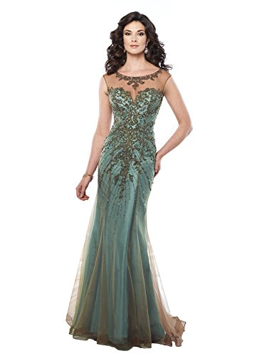 Mon Cheri Montage For Women's Cap Sleeve Lave and Tulle Over Taffeta Trumpet Gown 10 Bronze/Aqua