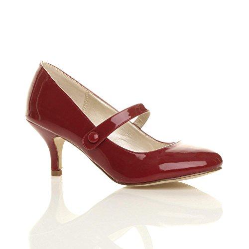 lavoro elegante festa scarpe jane Donna di mary tacco moda taglia media Vernice Bordeaux YxwqB1I6g