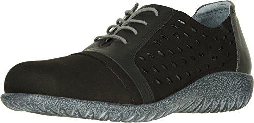 Black Lthr Lace - NAOT Footwear Women's Lalo Black Velvet Nubuck/Jet Black Lthr/Tin Gray Lthr Lace-up Shoe 11 M US