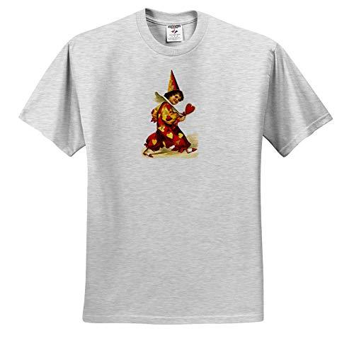3dRose VintageChest - Valentine - Ellen Clapsaddle - Valentine Harlequin with Heart - T-Shirts - Toddler Birch-Gray-T-Shirt (3T) (ts_303230_32) ()