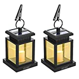 LVJING Solar Lantern,LED Lantern Lights Hanging Solar Lights Outdoor Decorative with Warm White Candle Flicker Auto Sensor On Off for Patio Landscape Path Yard and Christmas Lights (2 Pack)