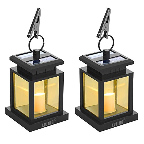 - LVJING Solar Lantern,LED Lantern Lights Hanging Solar Lights Outdoor Decorative with Warm White Candle Flicker Auto Sensor On Off for Patio Landscape Path Yard (2 Pack)