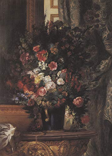Home Comforts Peel-n-Stick Poster of Delacroix, Eugène Ferdinand Victor - Flowers in a Blue vase Vivid Imagery Poster 24 x 16 Adhesive Sticker Poster Print