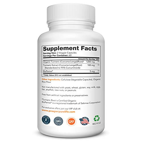 Turmeric Capsules with Black Pepper 1300mg - 120 Caps - Tumeric Curcumin  Supplement w/Bioperine - Organic Turmeric Pills - Anti-Inflammatory* Joint
