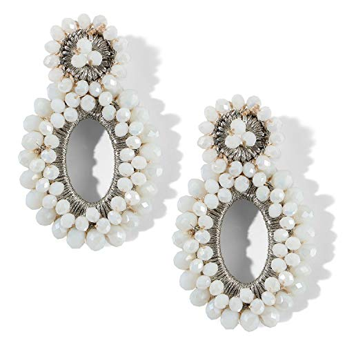 Bascolor Beaded Statement Earrings for Women Crystal Boho Hoop Round Drop Dangle Earrings for Lady Girls Jewelry (Crystal-White) ()