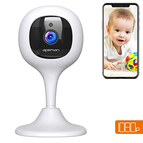 [New Version] APEMAN Baby Monitor WiFi Camera 1080P FHD Home Security Camera with Night Vision/Sound&Motion Detection/2-Way Audio for Baby/Elder/Pet Compatible with iOS&Android System
