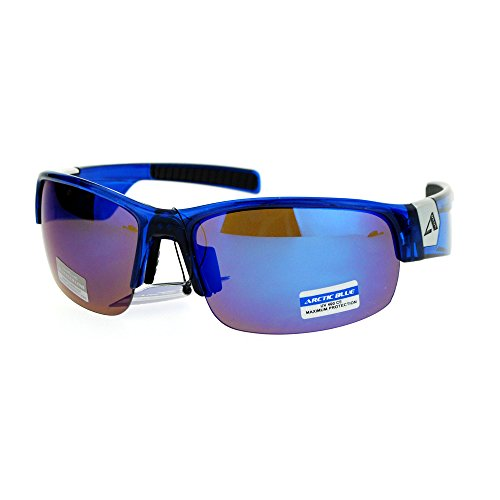 Arctic Blue Mens Sunglasses BlueTech Anti-Glare Lens Half Rim Wrap Around - Sunglasses Blue Arctic