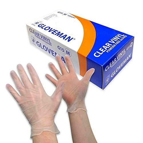 Gloveman Clear Vinyl Gloves (Box of 100) (Medium)