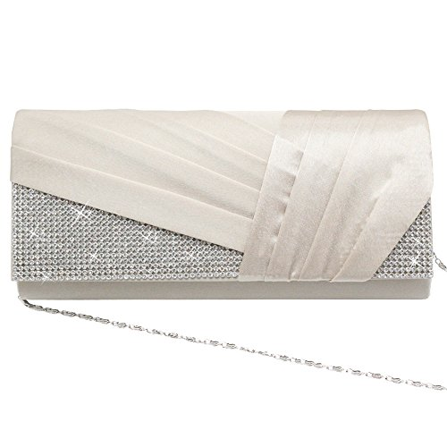 Elegant Handbag Rhinestone Women's Evening Cckuu Luxury Red Satin Apricot Pleated Bag Clutch 5g4CUnx