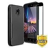 TJS Galaxy J7 2018/J7 Refine/J7 Star/J7 Eon/J7 TOP/J7 Aero/J7 Crown/J7 Aura/J7 V 2nd Gen Case, with [Full Coverage Tempered Glass Screen Protector] Carbon Fiber Shockproof Black Phone Case (Black)