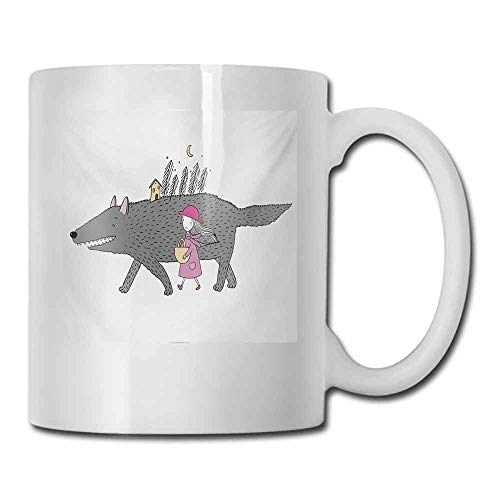 Porcelain Tea Mug Fantasy Girl in a Pink Dress Walking with a Giant Wolf Fir Forest and a Small House Double-Sided 11 oz Pink Grey Peach