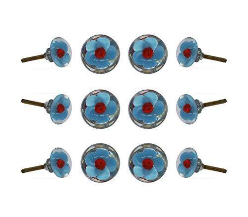 - Set of 12 Glass Mendip Blue and Red Flower Cabinet Knobs Kitchen Cupboard Dresser Drawer Door Knob Pull by Trinca-Ferro
