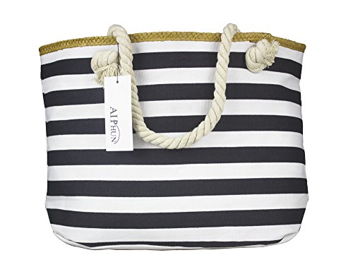 Straw Beach Bag Shoulder Canvas Tote Bag X-Large with Zipper,Cotton Rope Handles, Waterproof