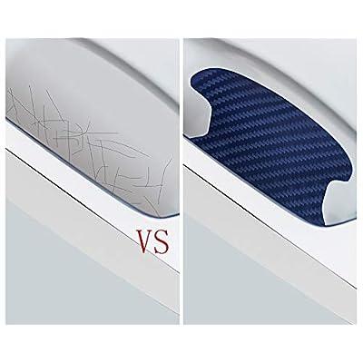 ZaCoo 10 Pcs Carbon Fiber Car Door Cup Protection Film Auto Door Handle Paint Scratch Protection Car Door Cup Guard (Blue): Automotive