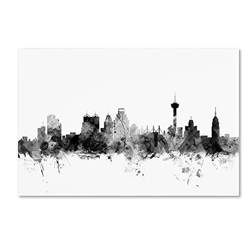 San Antonio Texas Skyline B&W by Michael Tompsett, 22x32-Inch Canvas Wall Art ()