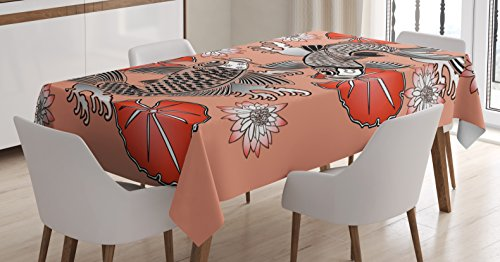 Traditional Japanese Table (Koi Fish Tablecloth by Lunarable, Sacred Carp in Traditional Japanese Ink Style with Lilles Classic Artwork, Dining Room Kitchen Rectangular Table Cover, 52 W X 70 L Inches, Coral Black White)