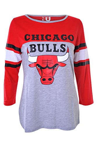 Chicago Bulls Official T-shirt - NBA Women's Chicago Bulls T-Shirt Raglan Baseball 3/4 Long Sleeve Tee Shirt, Medium, Red