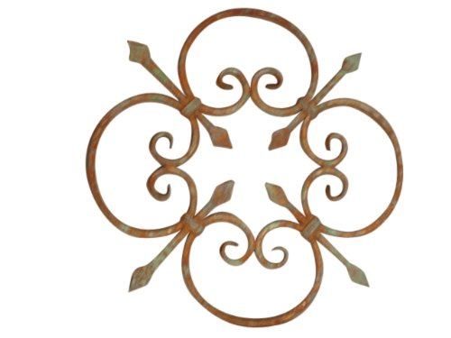 Rosettes Steel Wrought (Shoreline Decorative Rosette Wrought Iron Wall Décor for Living Room Home Accent-Nickel/Steel)