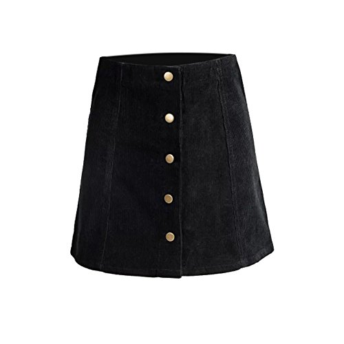 Leezo Women Winter Mini Skirts Petite Vintage Corduroy Button Front A-Line Skirt (M, Black) (Corduroy Button)