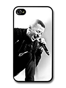 AMAF ? Accessories Chester Bennington Black and White Linking Park Singing case for iPhone 4 4S by mcsharks