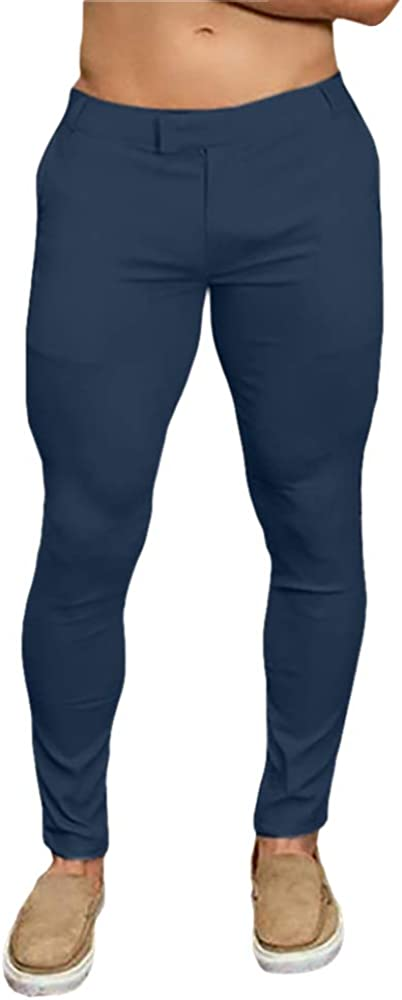 Gafeng Mens Slim Fit Stretch Pants Casual Skinny Flat Front Zipper Taper Legging Pencil Pants with Pockets