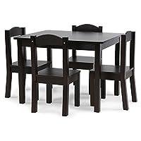 Tot Tutors TC824 Espresso Collection - Juego de 4 sillas y mesa de madera para niños, espresso