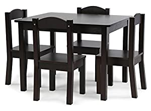 tot tutors kids wood table and 4 chairs set espresso espresso collection kitchen. Black Bedroom Furniture Sets. Home Design Ideas