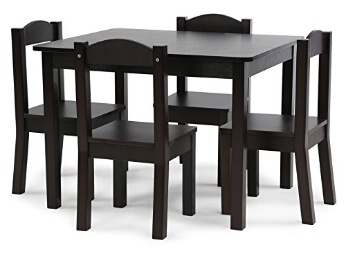 Childs Dinner - Tot Tutors TC824 Espresso Collection Kids Wood Table & 4 Chair Set, Espresso