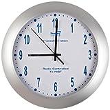 Thomas 1077 Traceable Analog Radio Atomic Wall Clock, 12' Diameter x 2' Depth