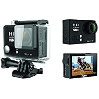 Naxa NDC-404 12MP Waterproof 1080p Action Camera with Wi-Fi, Shiny Black